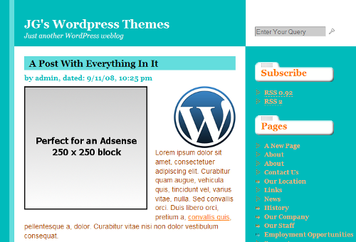 Adsense placeholder in the theme