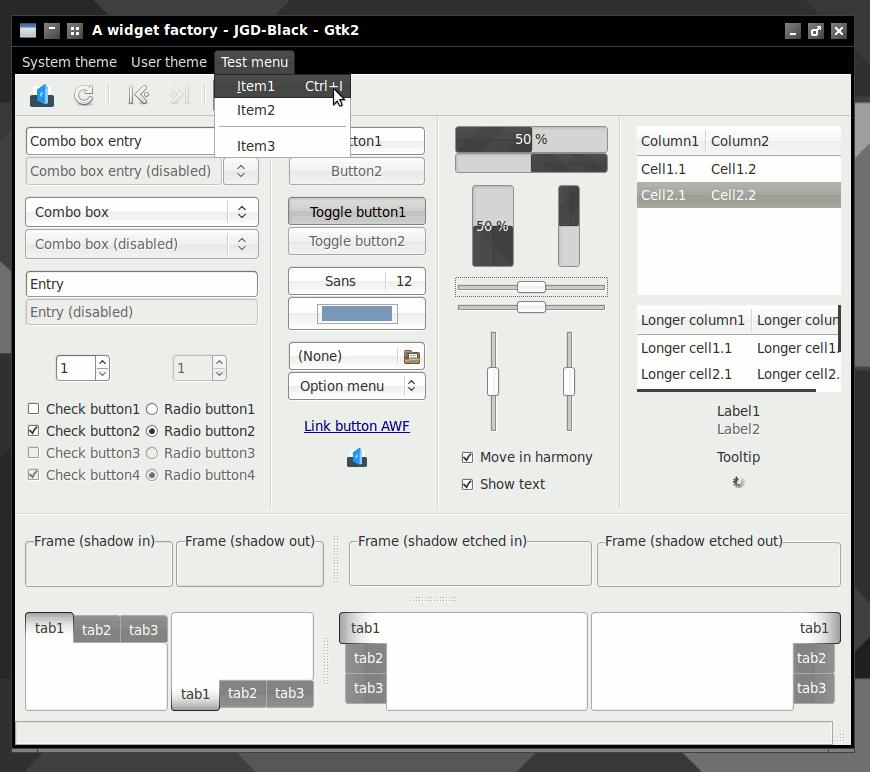 Screenshot of JGD-Black GTK+ 2 from A Widget Factory