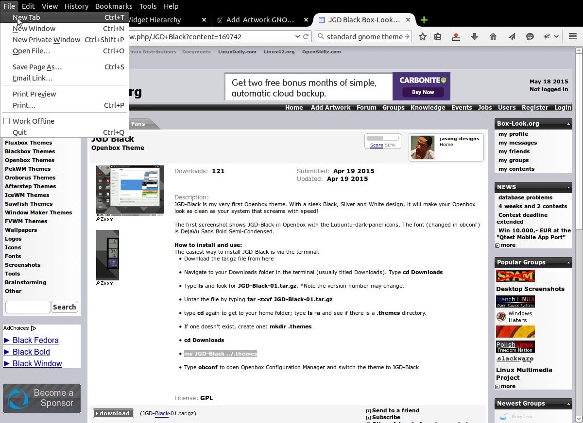 JGD-Black GTK+ 2 with Mozilla Firefox