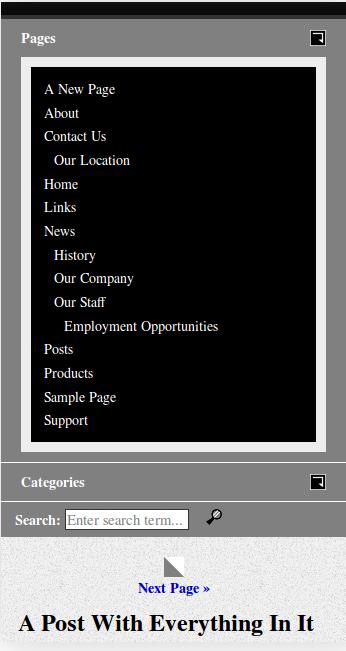JGD-BizElite menu on mobile phone