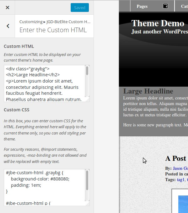 HTML and CSS input boxes in JGD BizElite Custom HTML plugin
