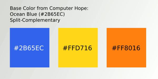 Color Scheme 2- #2B65EC; #FFD716; #FF8016
