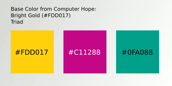 Color Scheme 3- #FDD017; #C11288; #0FA088