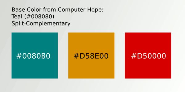 Color Scheme 4- #008080; #D58E00; #D50000