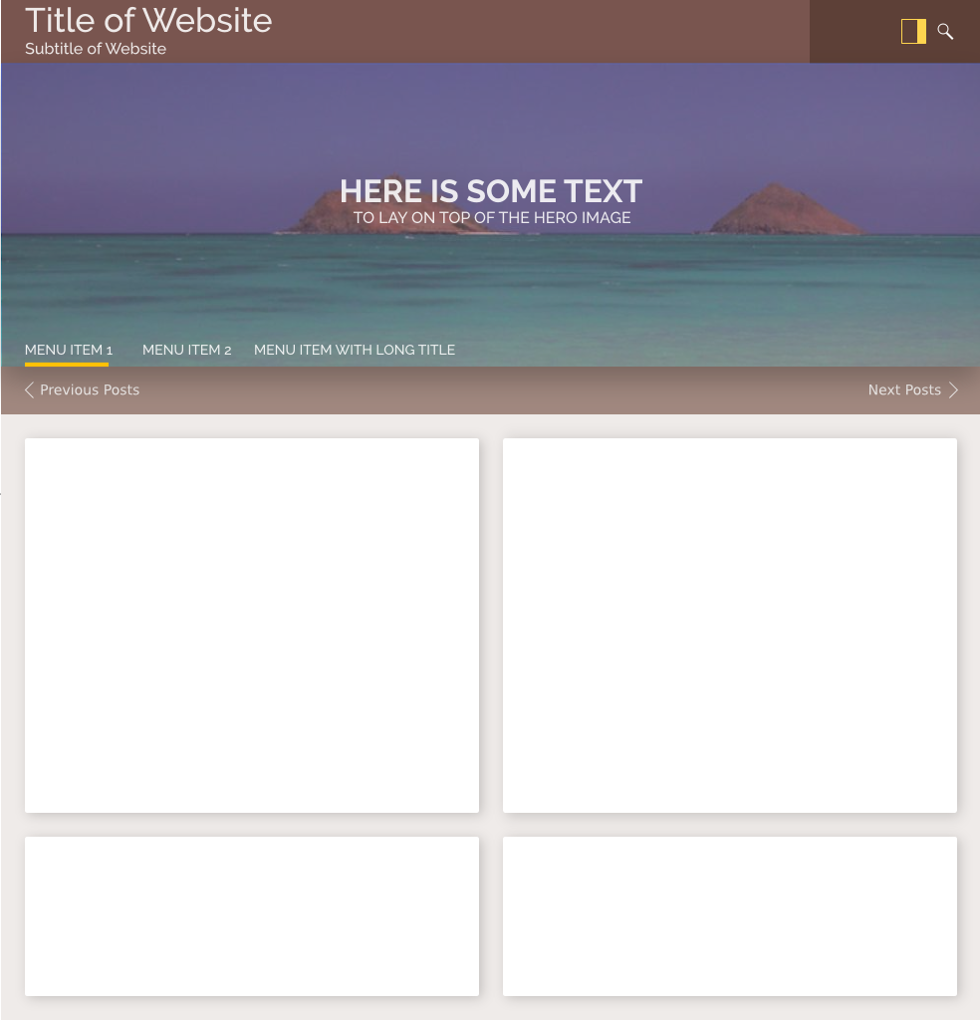 The M.X. desktop layout with two posts side by side.