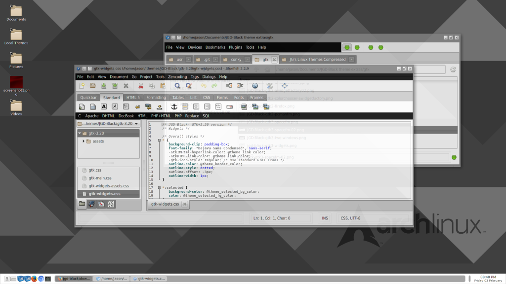 Two window screens, showing Openbox's inactive window feature