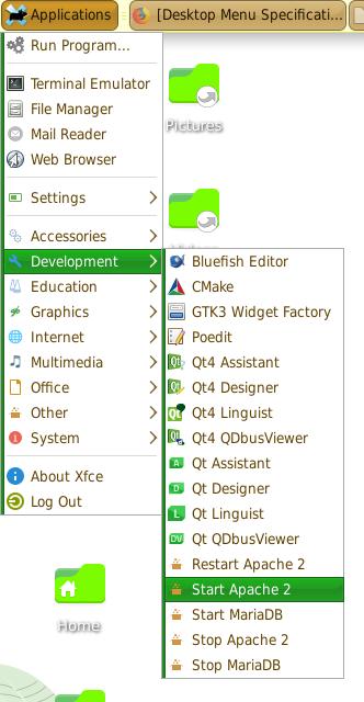 Add LAMP Menu Items to the XFCE Applications Menu - Jason G